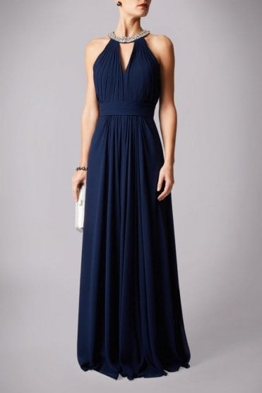 Navy MC181212BM beaded halterneck dress