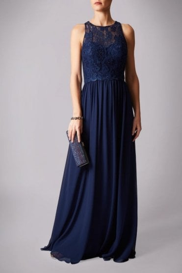 Navy MC181215BM lace bodice dress