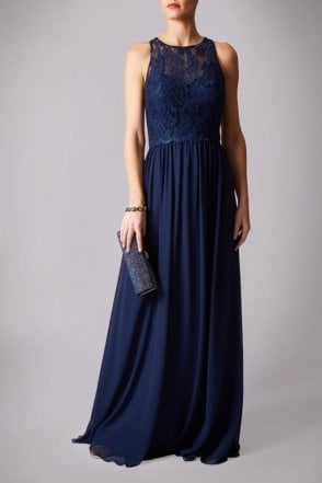 Navy MC181215BM lace high neck dress