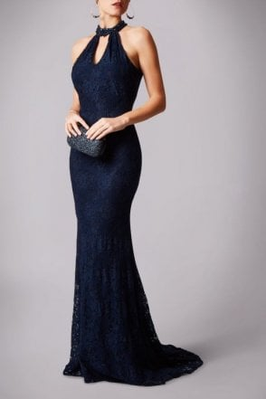Navy MC181230G drop back lace long dress