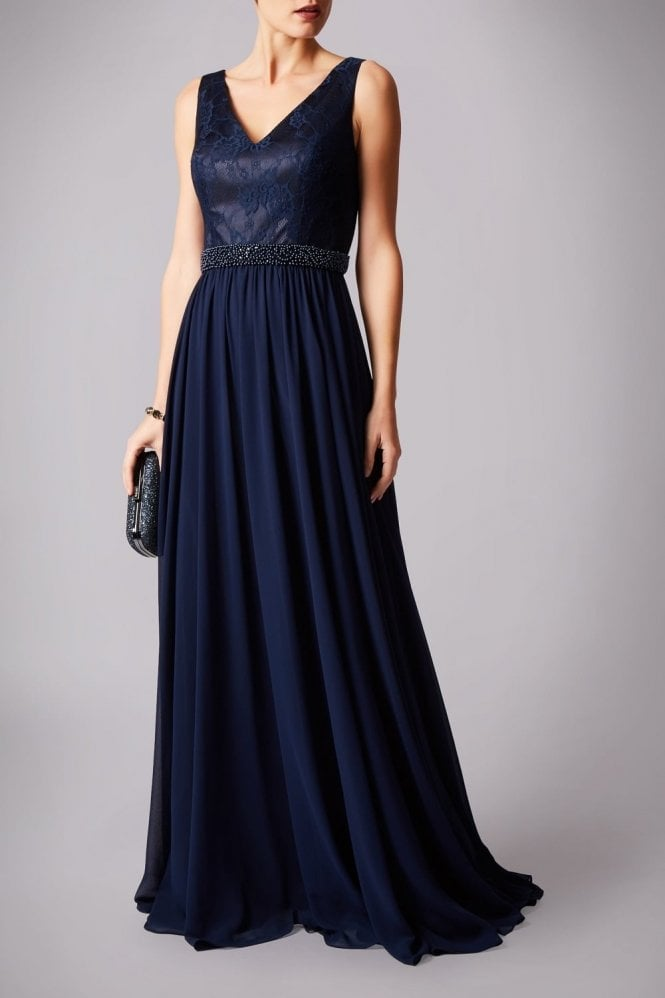 Mascara Navy MC181232P Pearl belt lace top dress