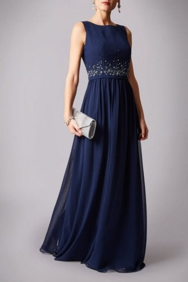 Navy MC181233BM Beaded Waist chiffon dress
