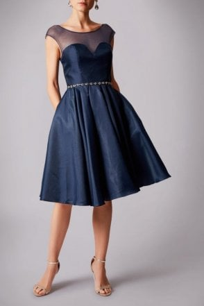 Navy MC181236P bell prom dress