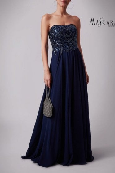 Navy MC181283P sequined bustier gown