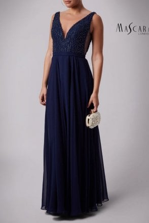 Navy MC181286BM side vent pearls dress