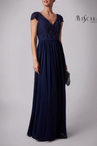 Navy MC181329BM Beaded cap sleeve chiffon dress
