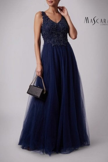 Navy MC181386 V neck lace bodice dress with tulle skirt