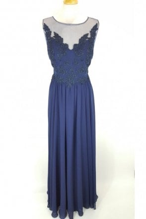 Navy MC185132 Lace Body Illusion Neckline Long Gown