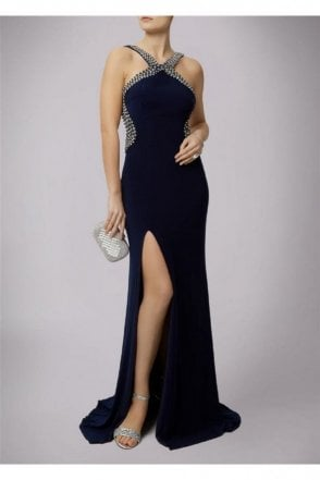 Navy Pearl Drop Back Couture Gown 185146