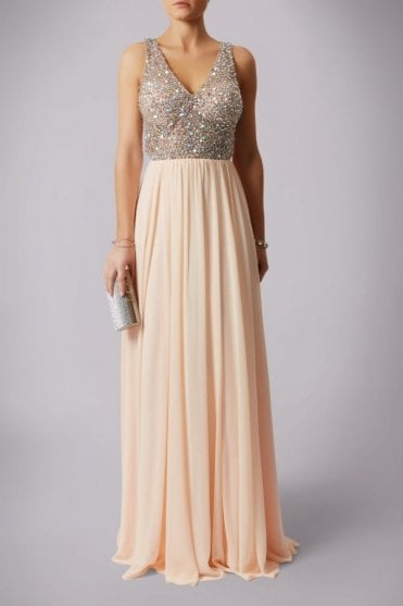 Peach 181181 drop back beads floor length ball gown