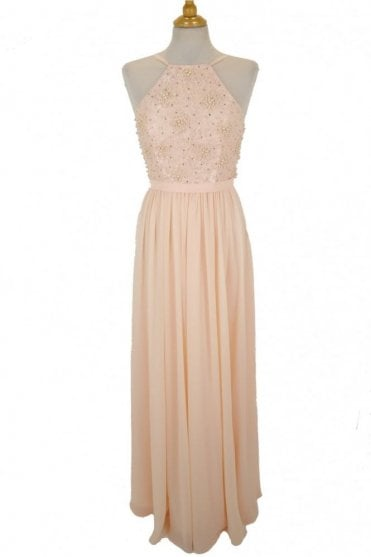 Peach MC181278BM lace pearl bodice dress