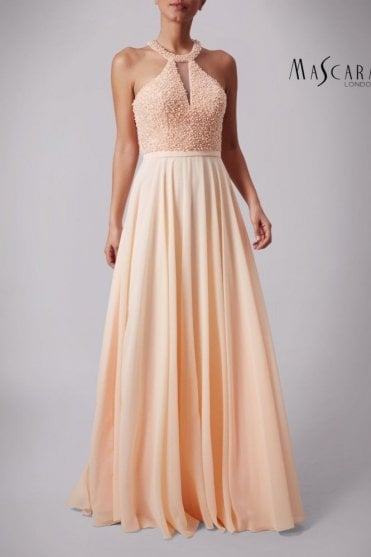 Peach MC181361 Pearl beaded top chiffon dress