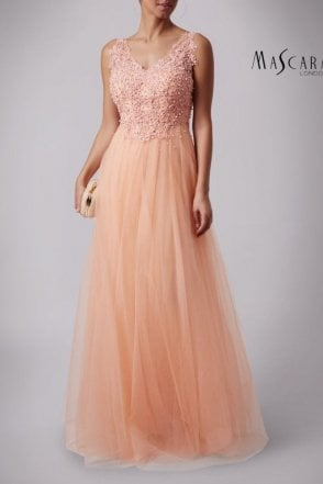Peach MC181386 Lace V neck tulle skirt dress