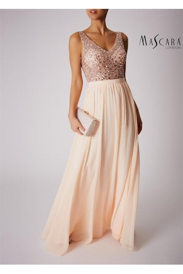 Peach MC186023 Sparkly Bodice dress