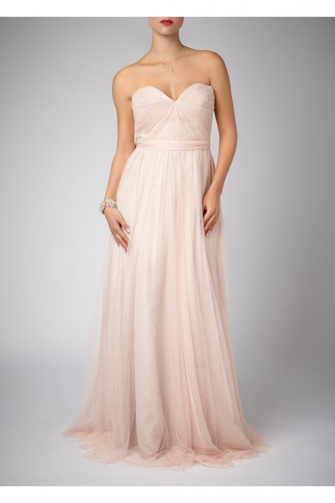 Mascara Peach Pleated Two Tone Strapless Gown 181083