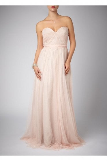 Peach Pleated Two Tone Strapless Gown 181083