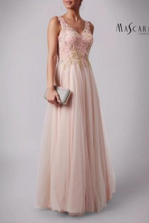 Pink MC165091 Lace embroidered bead top dress