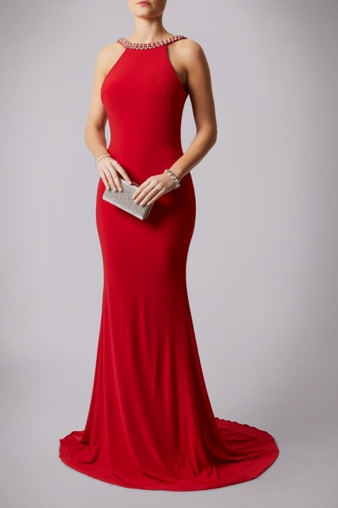 Mascara Red 181193 Drop Back Pearl Floor Length Gown