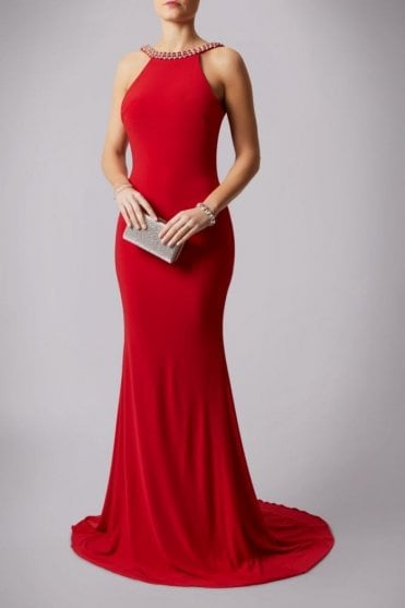 Red 181193 Drop Back Pearl Floor Length Gown