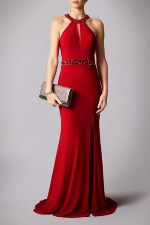 Red drop neck gown with mesh insert MC181203