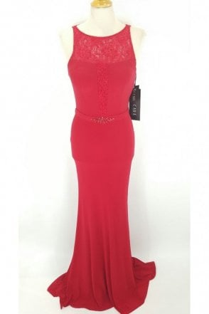 Red Jersey and Lace Embellished Gown 185175