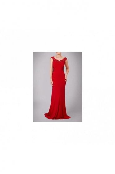 Red Jersey Gown with Lace Back MC181126