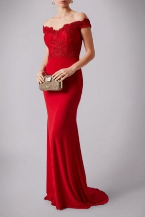 Red Lace MC1612030G bardot neckline fitted dress