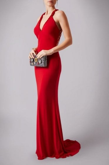 Red MC161068G Strap back gown with beaded neck