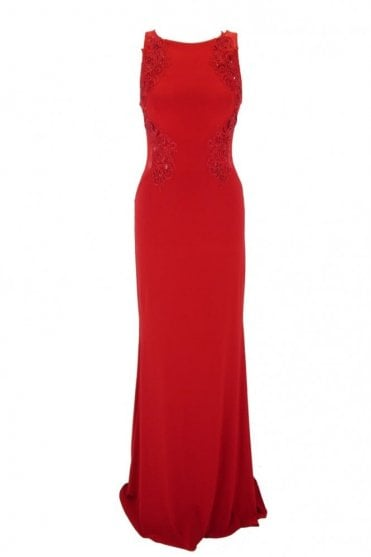 Red MC1612037 lace applique sheer back long gown