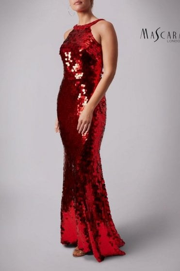 Red MC166125 Fishquins Sequinned High neck dress