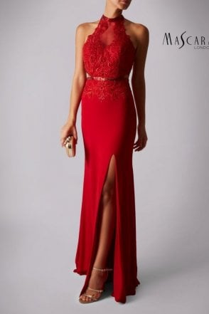 Red MC166126G lace embroidery high neck dress