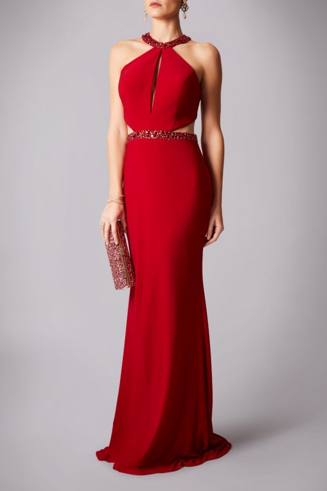 Mascara Red MC1812002 cut away back gown