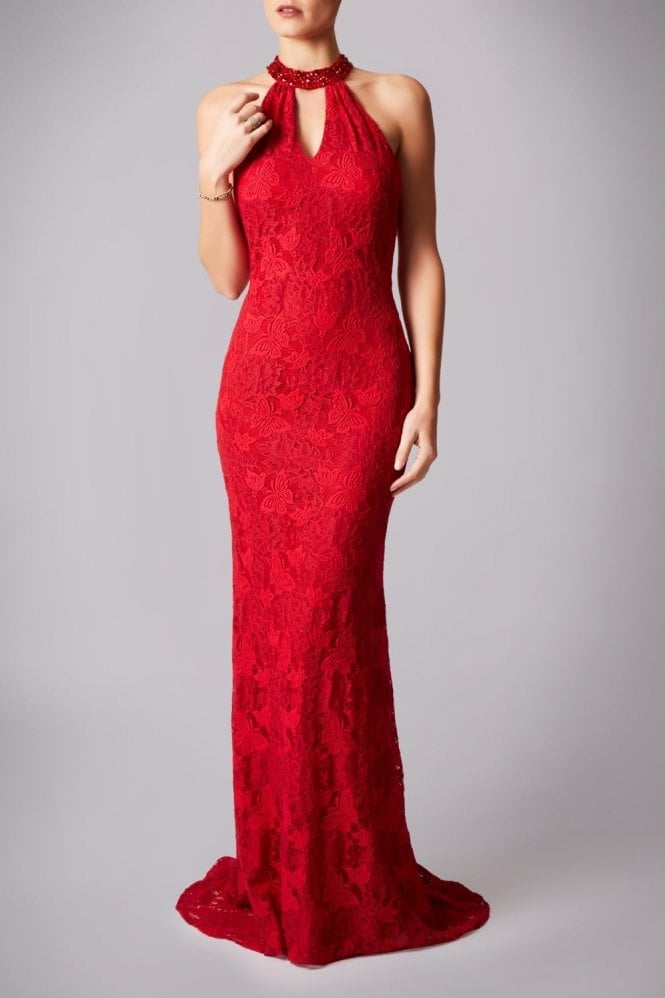 Mascara Red MC181230G drop back lace long dress