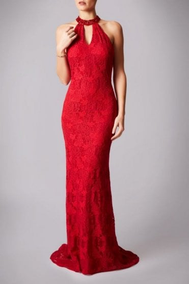 Red MC181230G drop back lace long dress