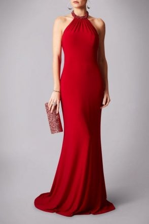 Red MC181282P pearl neck halter dress with low back