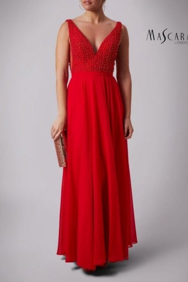 Red MC181286BM side vent pearls dress