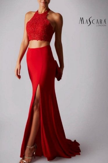 Red MC181418AB lace bead skirt set