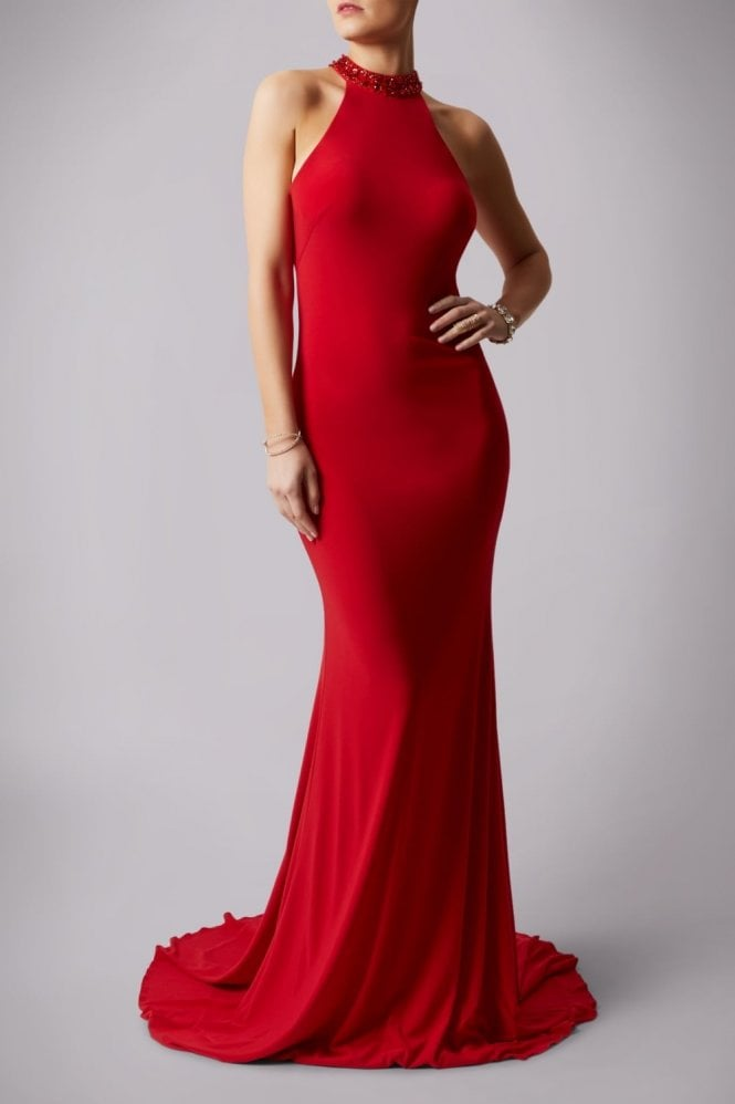 Mascara Red teardrop back jersey gown MC181206P
