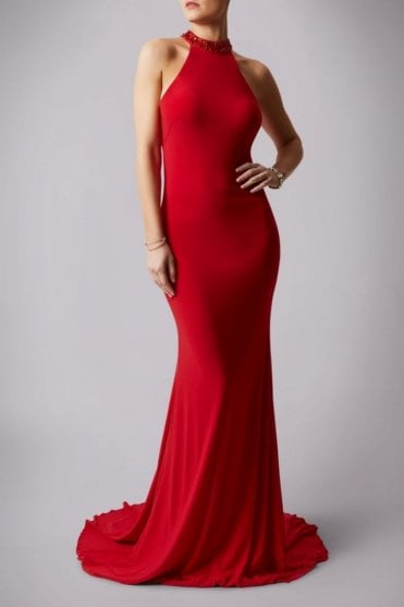 Red teardrop back jersey gown MC181206P
