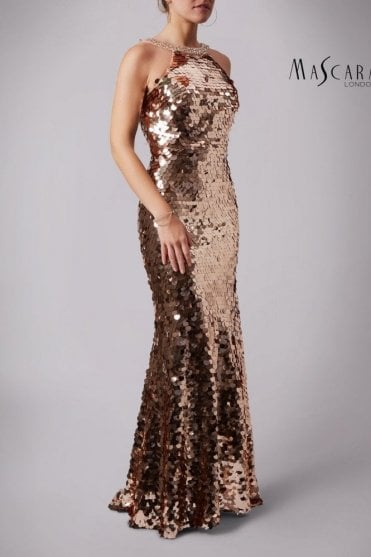 Rose Gold MC166125 Fishquins Sequinned High neck dress