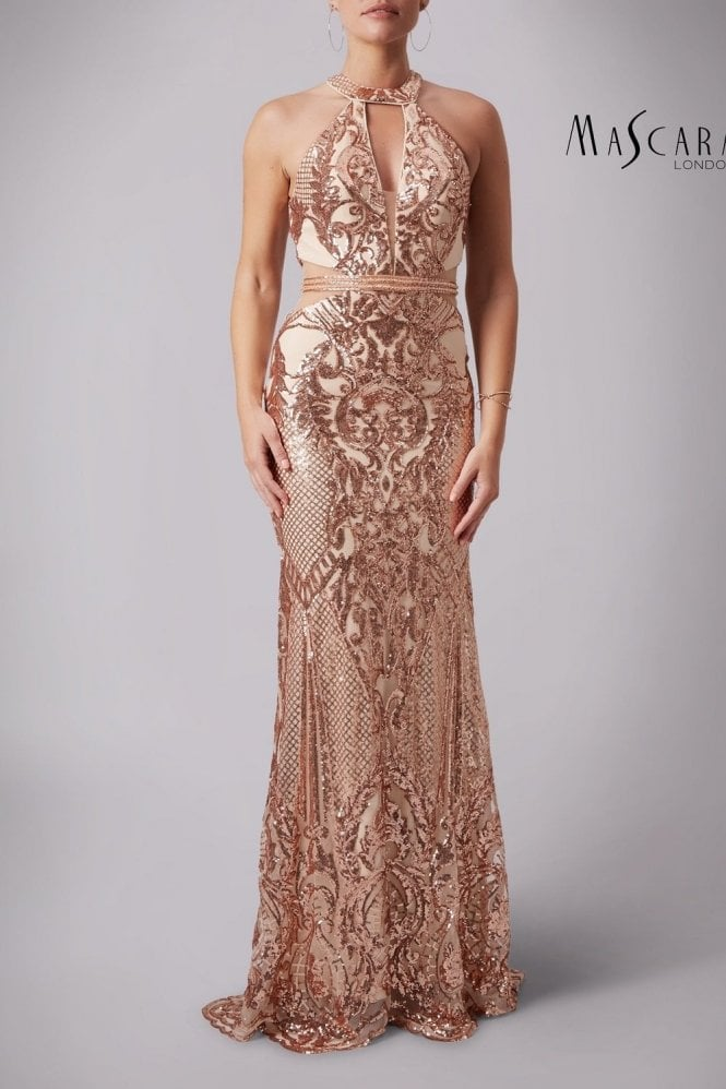 Mascara Rose Gold MC181363 Sparkly Sequined Scalloped gown