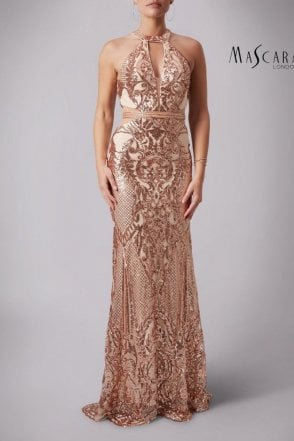 Rose Gold MC181363 Sparkly Sequined Scalloped gown