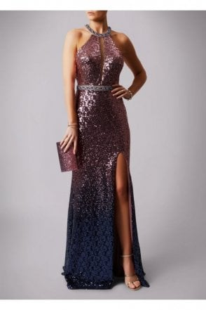 Rose Pink MC166105 dip dye sequin long dress