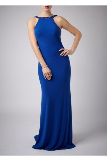 Royal Blue Jewelled Drop Back Gown 181089