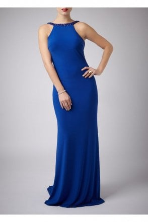Royal Blue Jewelled Drop Back Gown MC181089