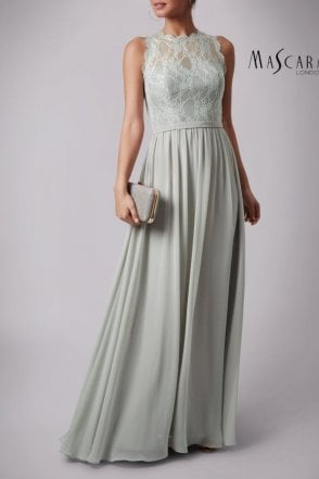 Sage green MC181312B lace and chiffon dress