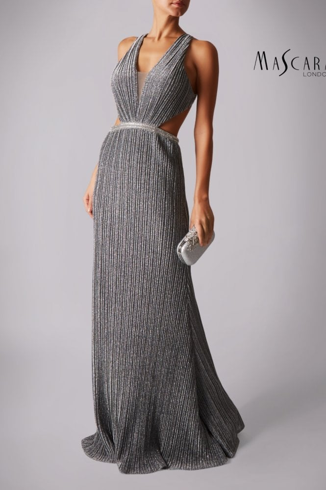 Mascara Silver MC166135 pleated jersey open back dress