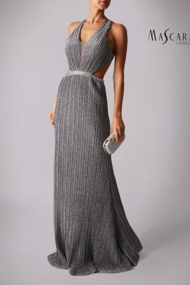Silver MC166135 pleated jersey open back dress