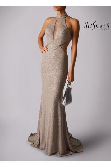 Taupe MC181266P net sparkle low back dress