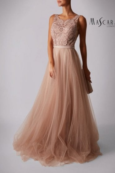 Taupe MC181417 Lace tulle dress